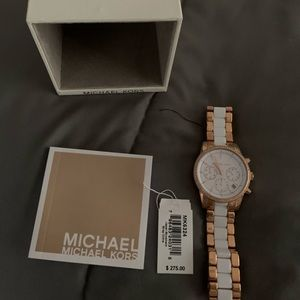 Mk watch white with gold